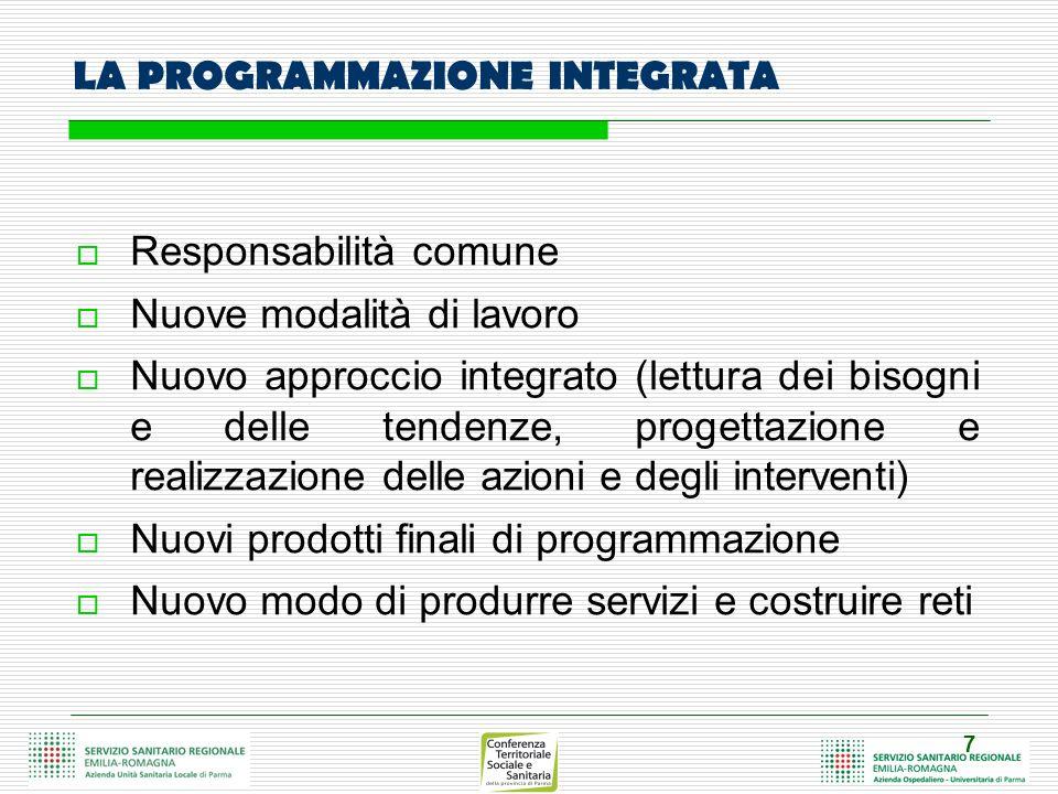 7 LA PROGRAMMAZIONE INTEGRATA Responsabilità comune Nuove modalità di lavoro Nuovo approccio integrato (lettura dei bisogni e delle tendenze, progetta