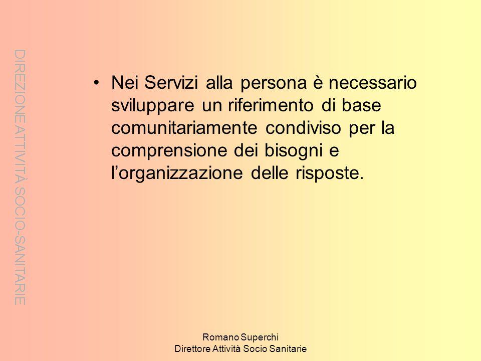 Romano Superchi Direttore Attività Socio Sanitarie Nei Servizi alla persona è necessario sviluppare un riferimento di base comunitariamente condiviso