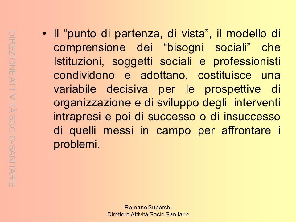 DIREZIONE ATTIVITÀ SOCIO-SANITARIE Romano Superchi Direttore Attività Socio Sanitarie Il punto di partenza, di vista, il modello di comprensione dei b