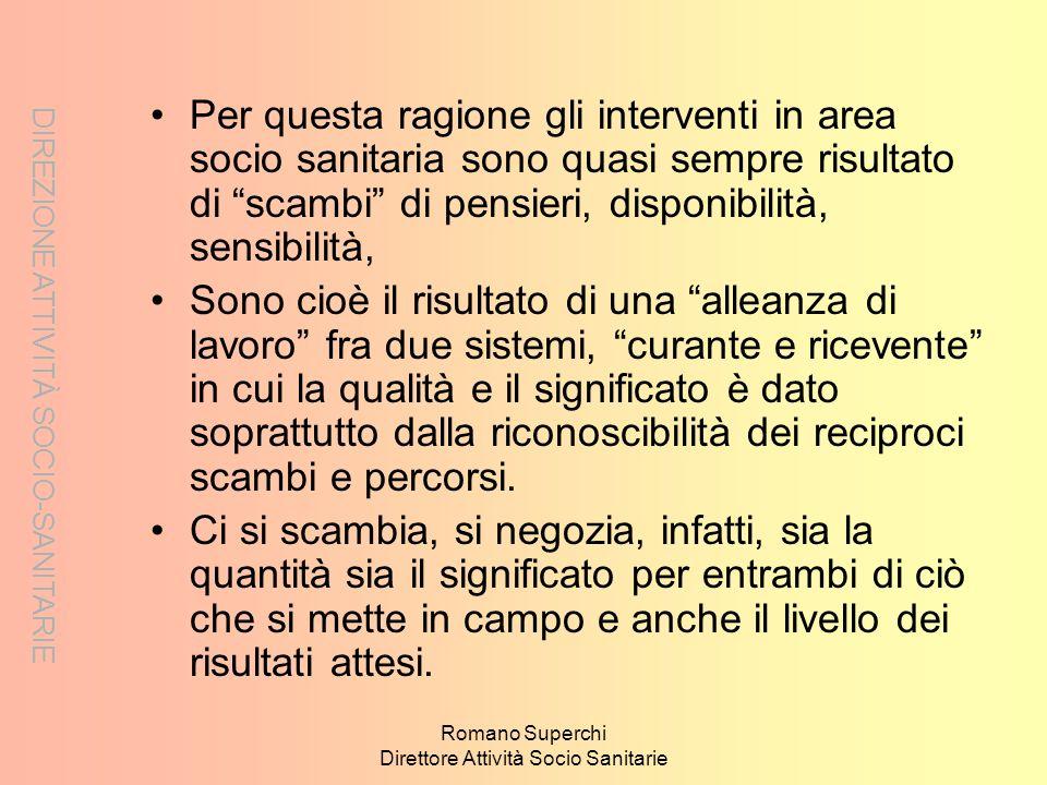 DIREZIONE ATTIVITÀ SOCIO-SANITARIE Romano Superchi Direttore Attività Socio Sanitarie Per questa ragione gli interventi in area socio sanitaria sono q
