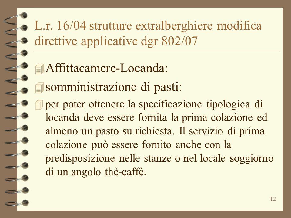 12 L.r. 16/04 strutture extralberghiere modifica direttive applicative dgr 802/07 4 Affittacamere-Locanda: 4 somministrazione di pasti: 4 per poter ot