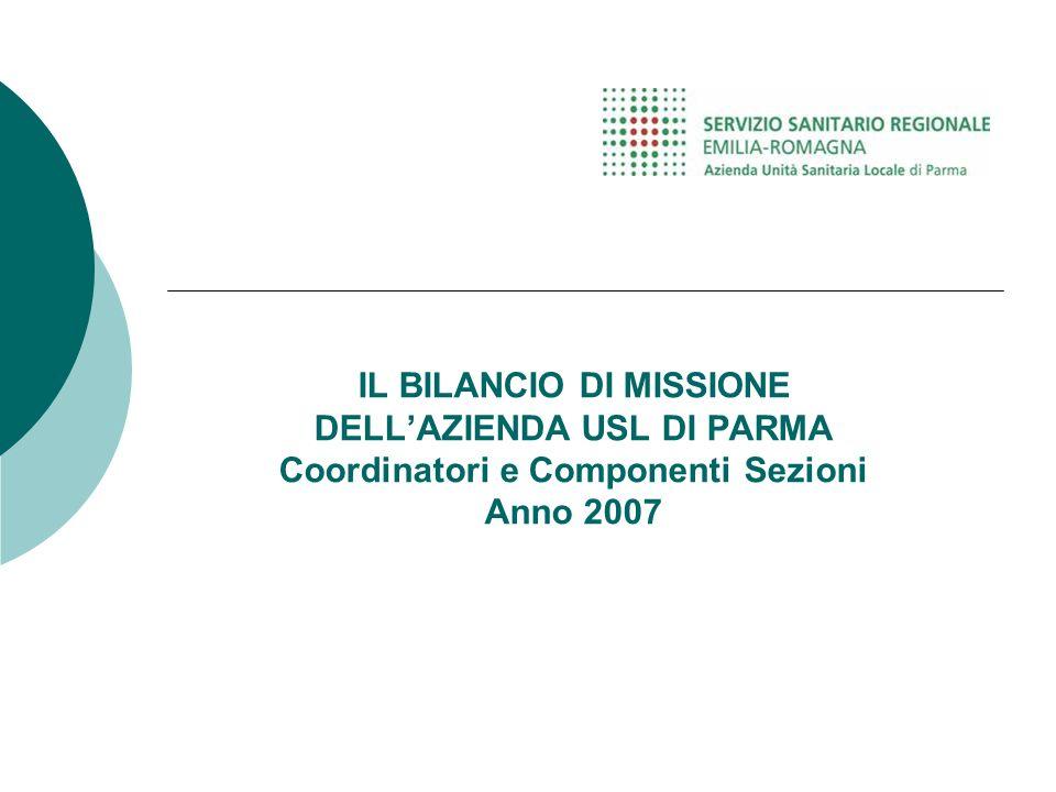 IL BILANCIO DI MISSIONE DELLAZIENDA USL DI PARMA Coordinatori e Componenti Sezioni Anno 2007
