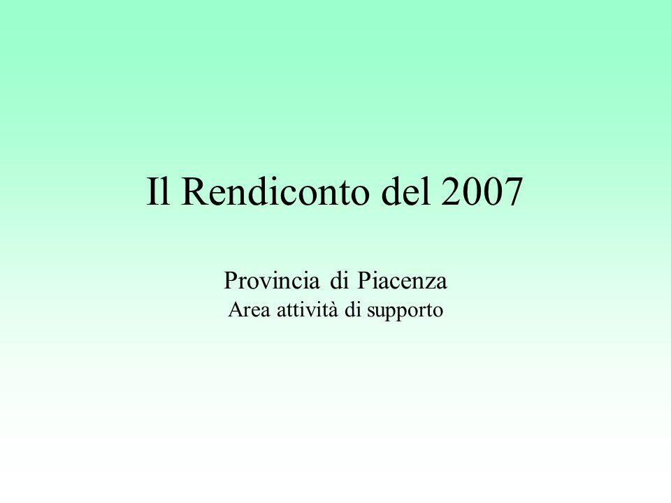 Il Rendiconto del 2007 Provincia di Piacenza Area attività di supporto