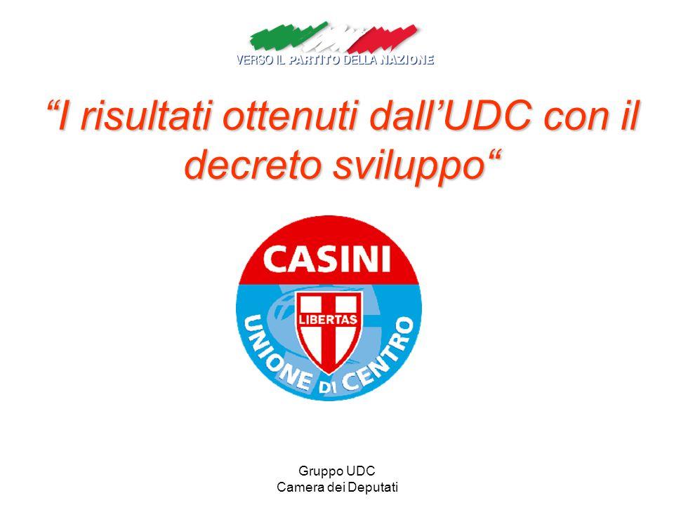 Gruppo UDC Camera dei Deputati I risultati ottenuti dallUDC con il decreto sviluppo