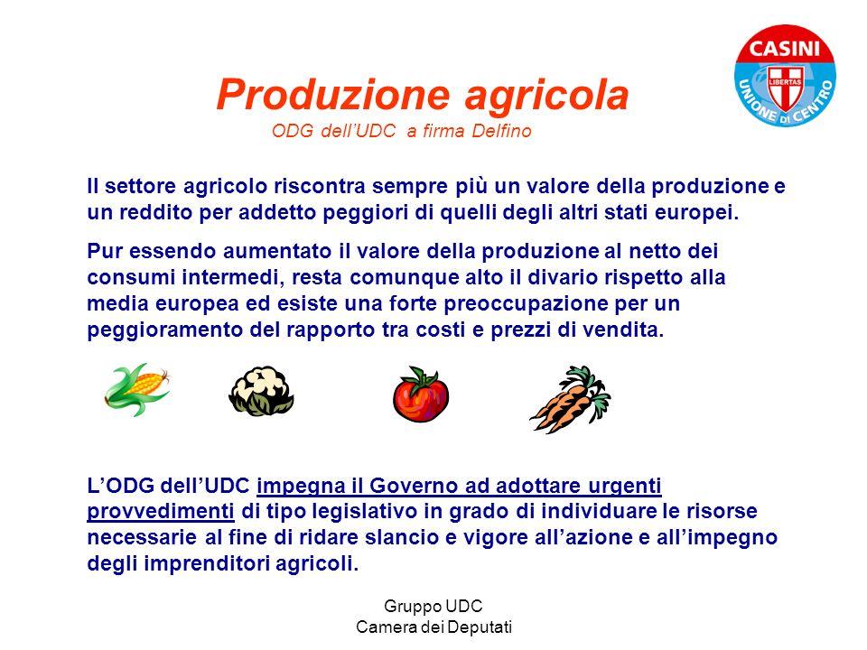 Gruppo UDC Camera dei Deputati Produzione agricola ODG dellUDC a firma Delfino Il settore agricolo riscontra sempre più un valore della produzione e u