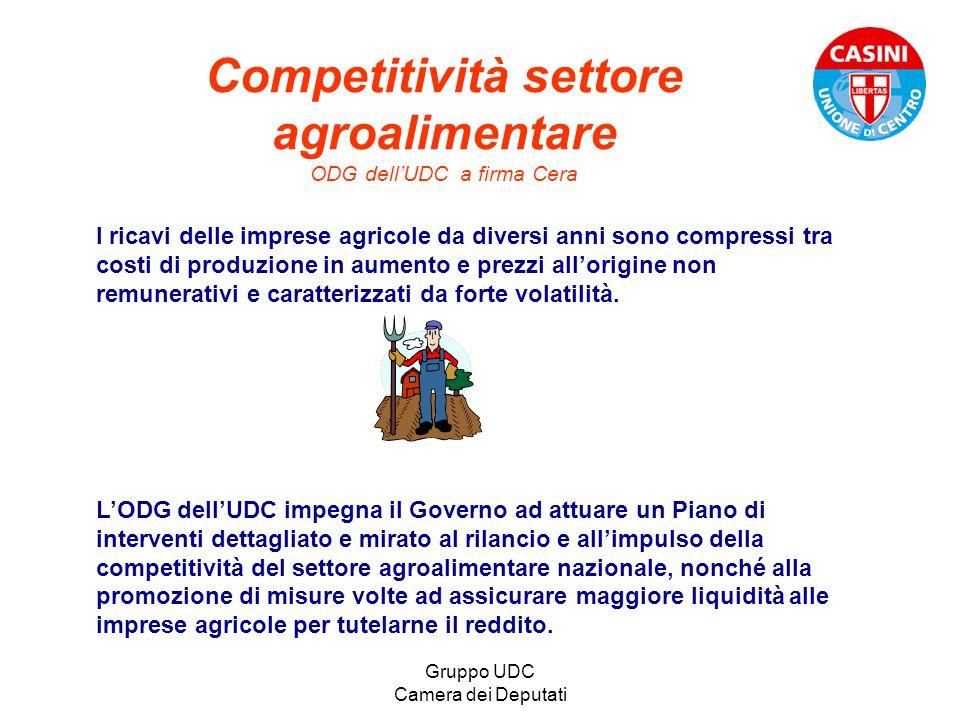 Gruppo UDC Camera dei Deputati Competitività settore agroalimentare ODG dellUDC a firma Cera I ricavi delle imprese agricole da diversi anni sono comp