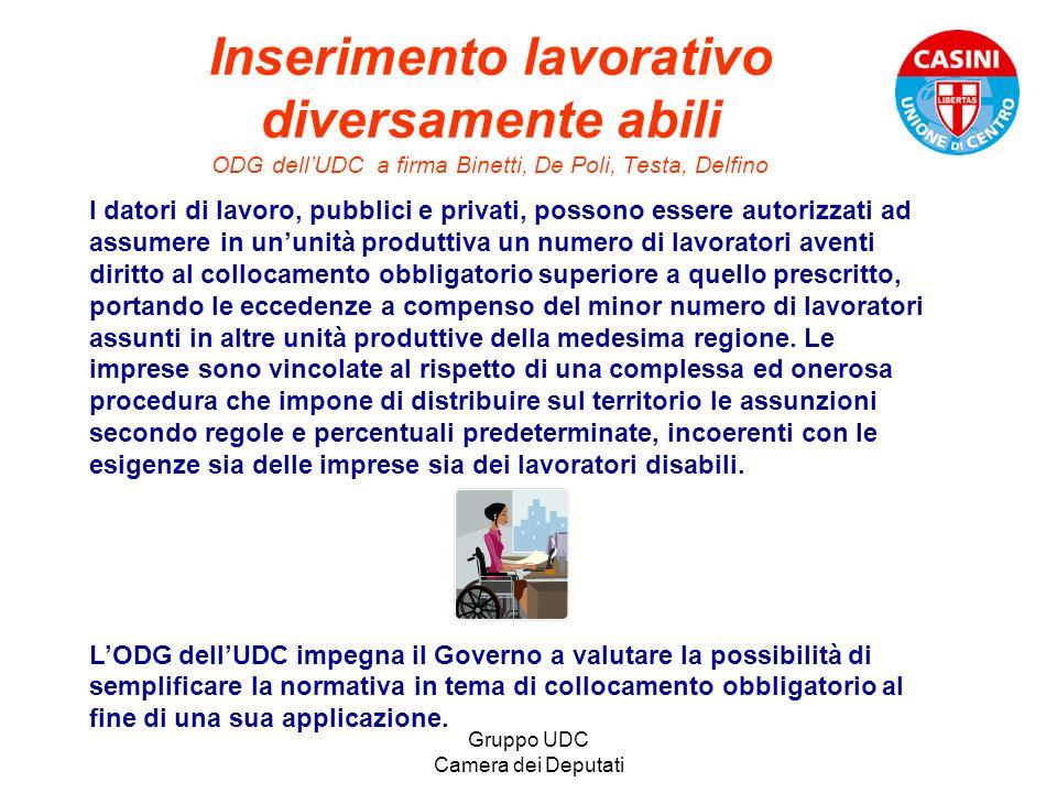 Gruppo UDC Camera dei Deputati Inserimento lavorativo diversamente abili ODG dellUDC a firma Binetti, De Poli, Testa, Delfino I datori di lavoro, pubb