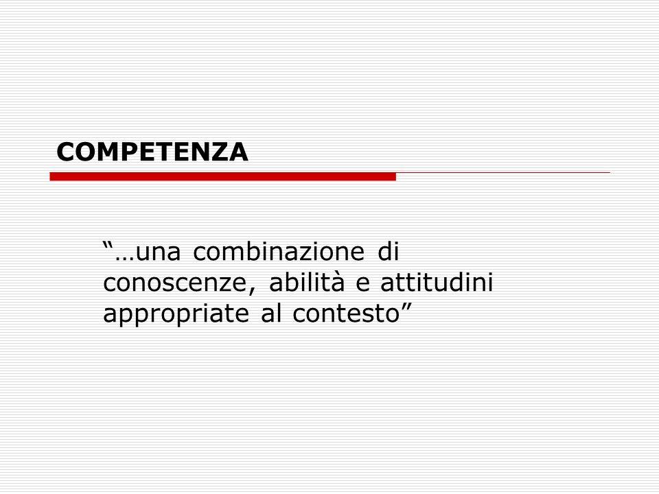 COMPETENZA …una combinazione di conoscenze, abilità e attitudini appropriate al contesto