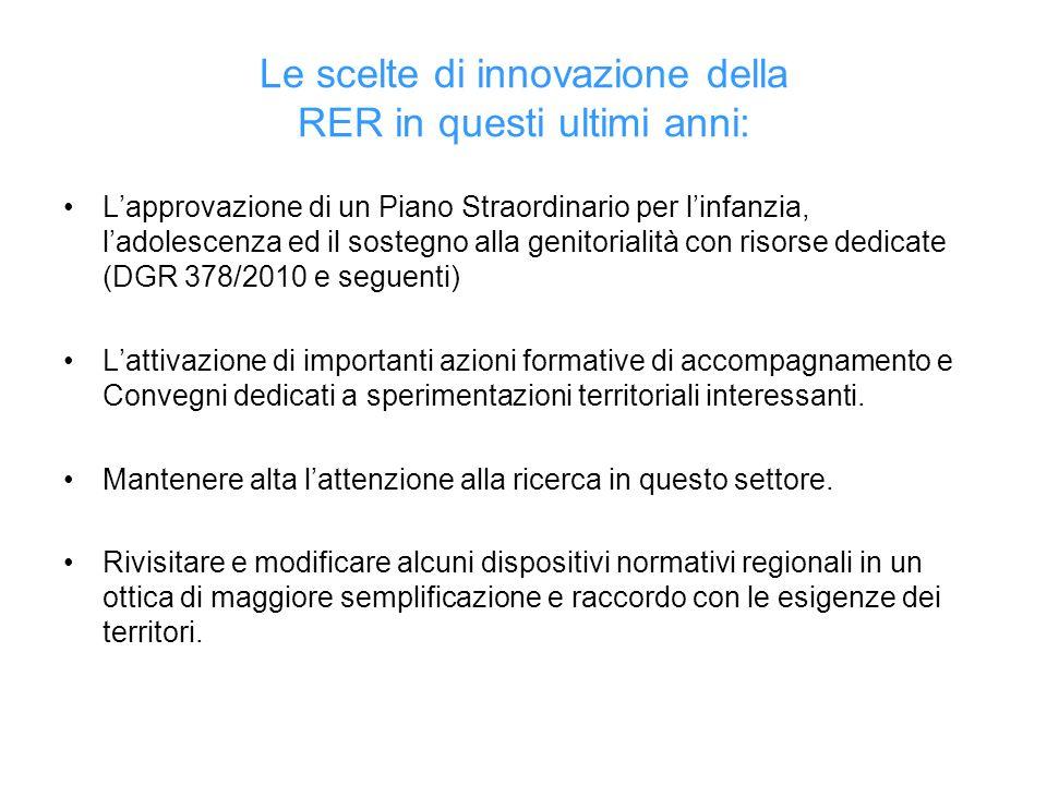 Le scelte di innovazione della RER in questi ultimi anni: Lapprovazione di un Piano Straordinario per linfanzia, ladolescenza ed il sostegno alla geni