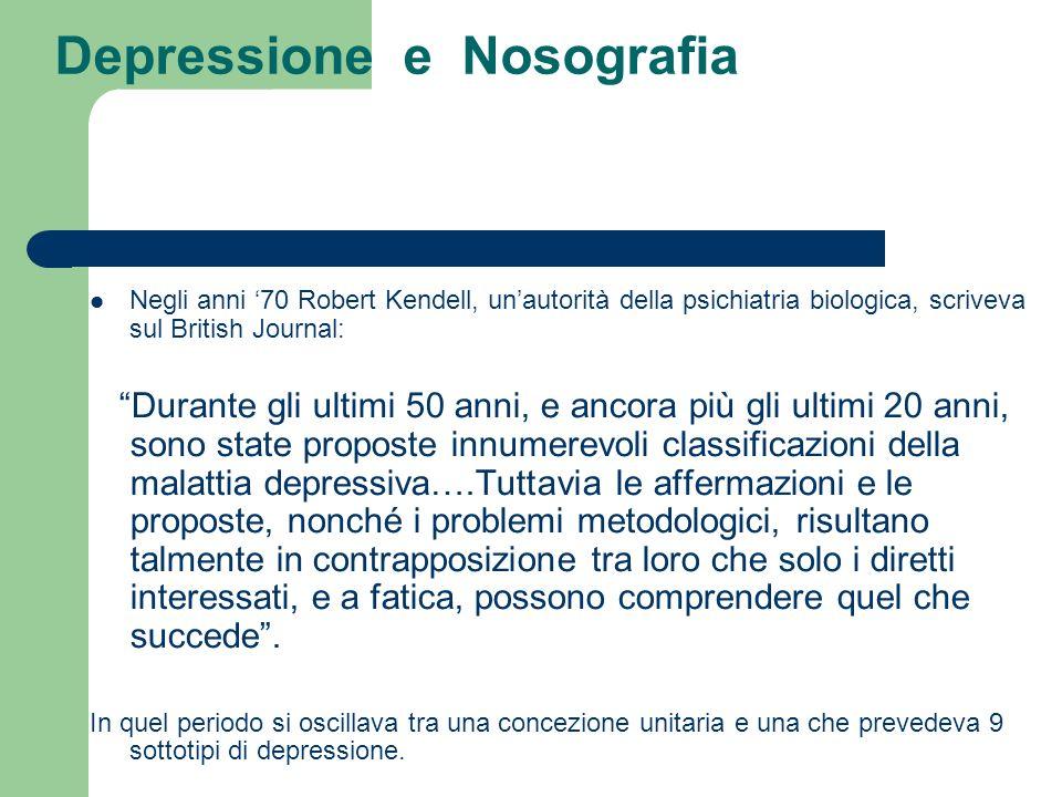 Depressione e Nosografia Negli anni 70 Robert Kendell, unautorità della psichiatria biologica, scriveva sul British Journal: Durante gli ultimi 50 ann