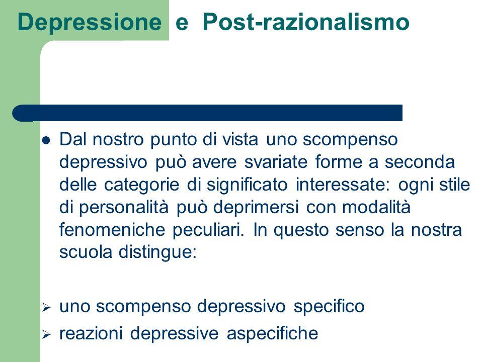 Depressione e Post-razionalismo Dal nostro punto di vista uno scompenso depressivo può avere svariate forme a seconda delle categorie di significato i