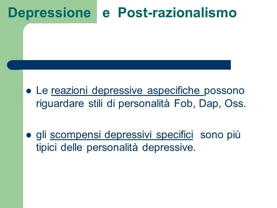 Depressione e Post-razionalismo Le reazioni depressive aspecifiche possono riguardare stili di personalità Fob, Dap, Oss. gli scompensi depressivi spe