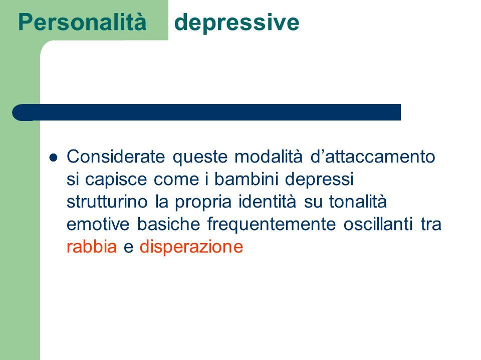Personalità depressive Considerate queste modalità dattaccamento si capisce come i bambini depressi strutturino la propria identità su tonalità emotiv