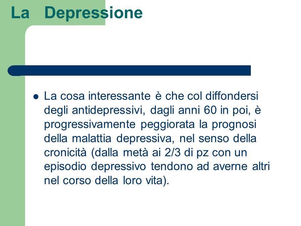 La Depressione La cosa interessante è che col diffondersi degli antidepressivi, dagli anni 60 in poi, è progressivamente peggiorata la prognosi della