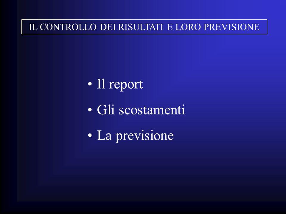 Il report Gli scostamenti La previsione IL CONTROLLO DEI RISULTATI E LORO PREVISIONE