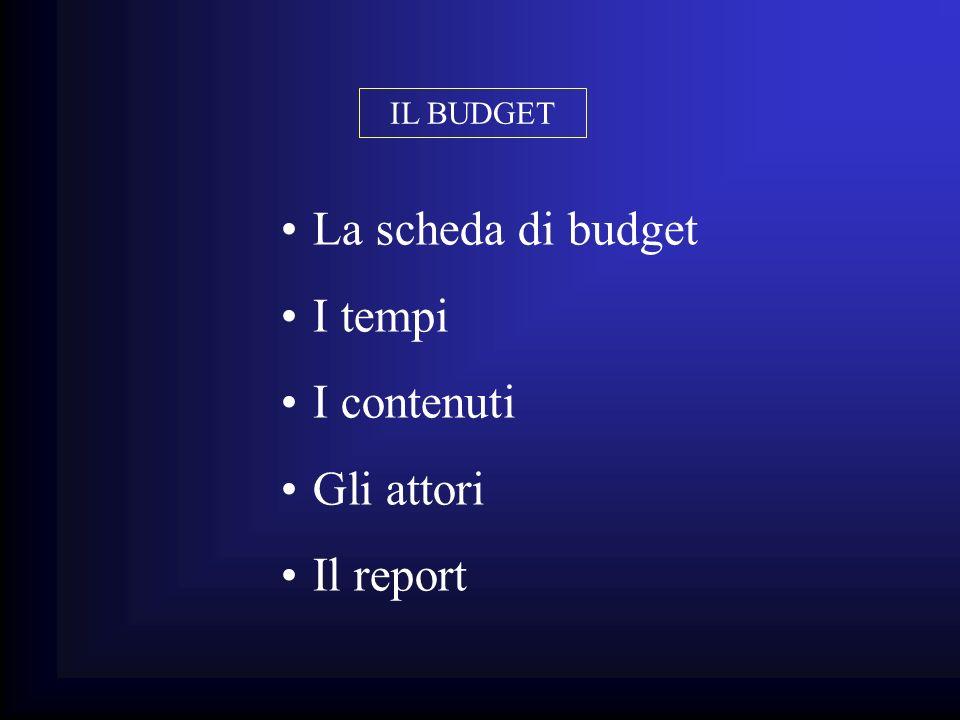 La scheda di budget I tempi I contenuti Gli attori Il report IL BUDGET