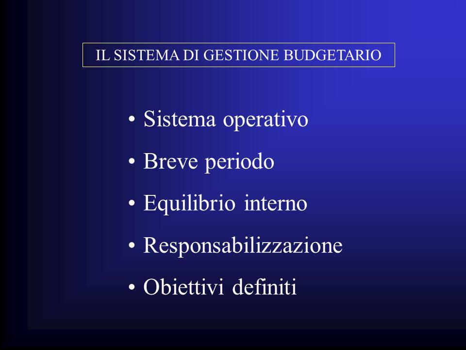 Sistema operativo Breve periodo Equilibrio interno Responsabilizzazione Obiettivi definiti IL SISTEMA DI GESTIONE BUDGETARIO