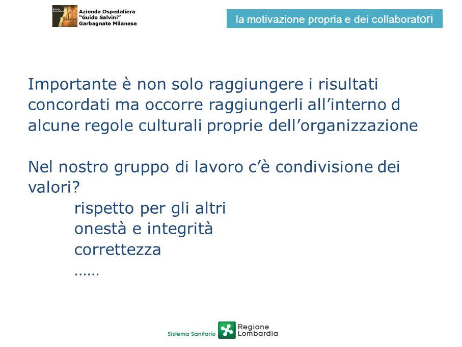 Importante è non solo raggiungere i risultati concordati ma occorre raggiungerli allinterno d alcune regole culturali proprie dellorganizzazione Nel n