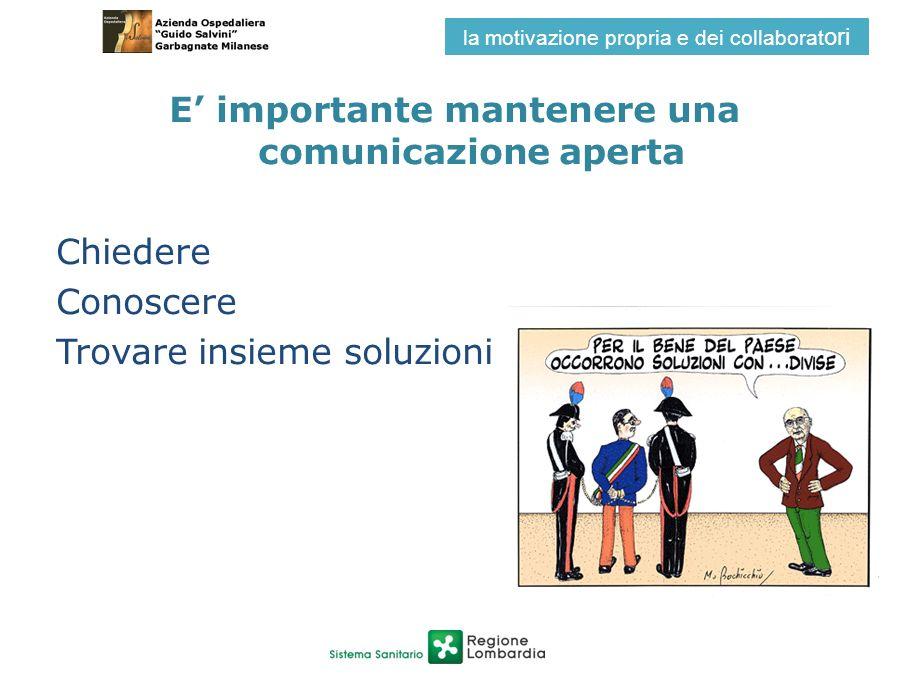 E importante mantenere una comunicazione aperta Chiedere Conoscere Trovare insieme soluzioni la motivazione propria e dei collaborat ori