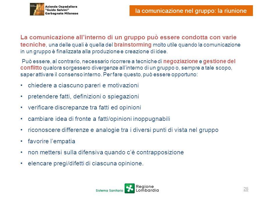 28 la comunicazione nel gruppo: la riunione La comunicazione allinterno di un gruppo può essere condotta con varie tecniche, una delle quali è quella