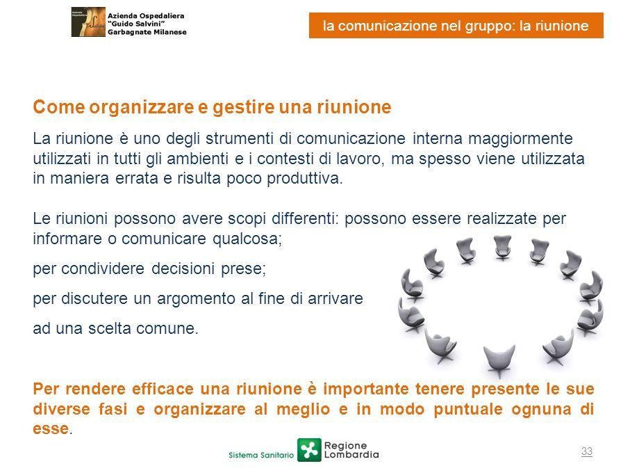 33 la comunicazione nel gruppo: la riunione Come organizzare e gestire una riunione La riunione è uno degli strumenti di comunicazione interna maggior