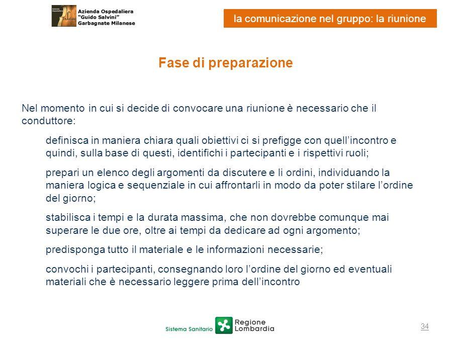 34 la comunicazione nel gruppo: la riunione Fase di preparazione Nel momento in cui si decide di convocare una riunione è necessario che il conduttore