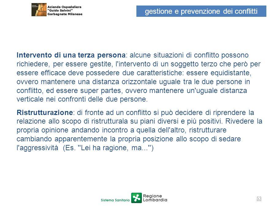 53 gestione e prevenzione dei conflitti Intervento di una terza persona: alcune situazioni di conflitto possono richiedere, per essere gestite, l'inte