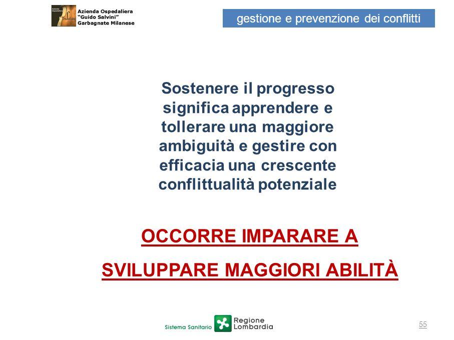 55 Sostenere il progresso significa apprendere e tollerare una maggiore ambiguità e gestire con efficacia una crescente conflittualità potenziale OCCO