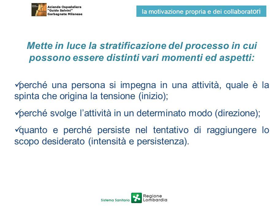 Mette in luce la stratificazione del processo in cui possono essere distinti vari momenti ed aspetti: perché una persona si impegna in una attività, q