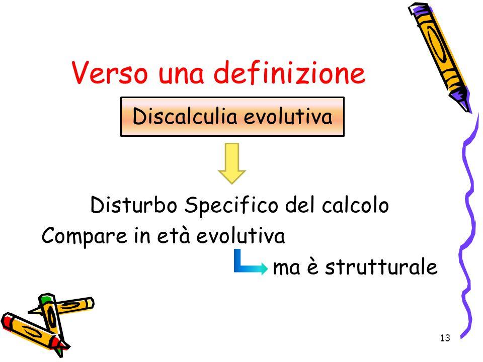 Verso una definizione Disturbo Specifico del calcolo Compare in età evolutiva ma è strutturale 13 Discalculia evolutiva