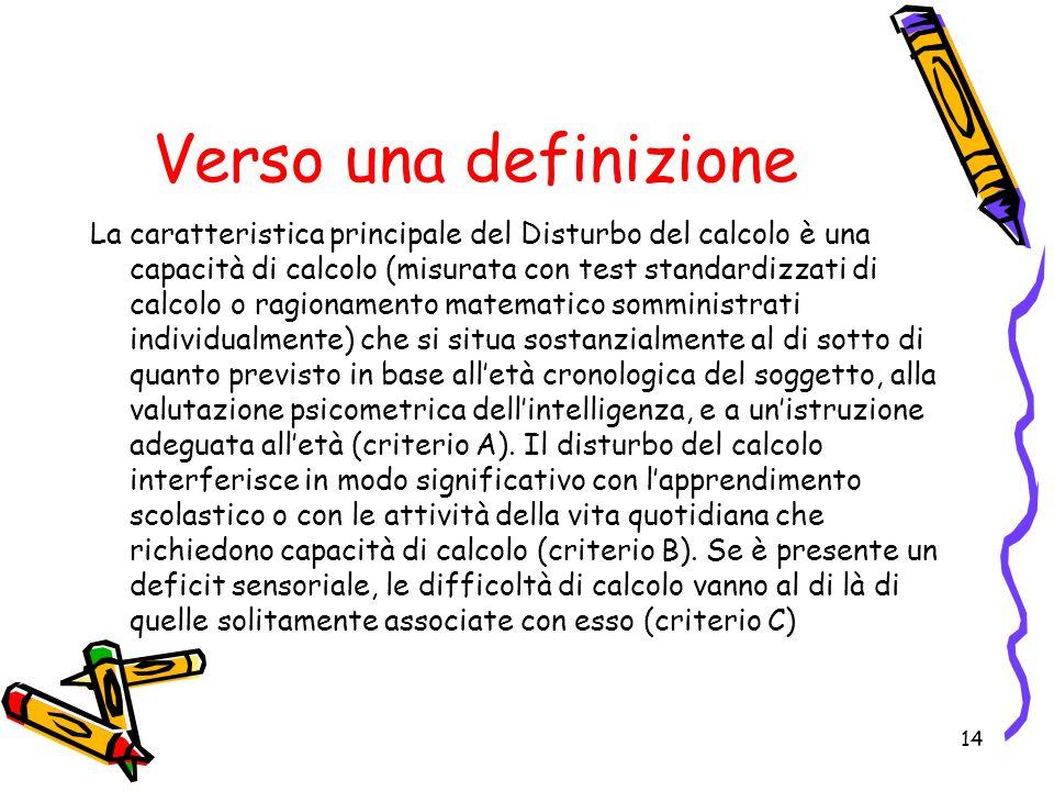 La caratteristica principale del Disturbo del calcolo è una capacità di calcolo (misurata con test standardizzati di calcolo o ragionamento matematico