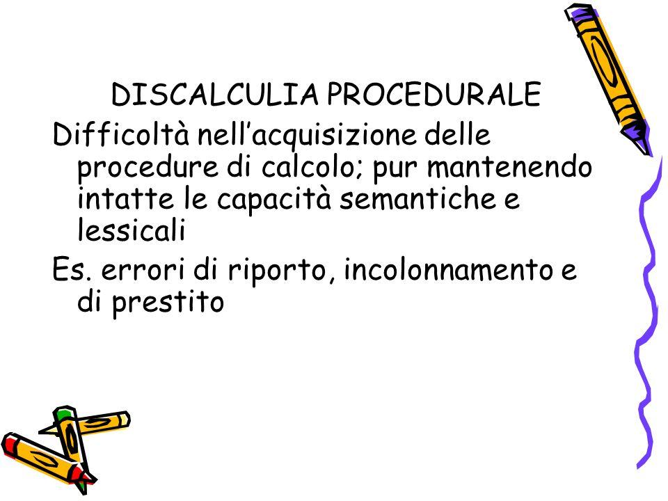 DISCALCULIA PROCEDURALE Difficoltà nellacquisizione delle procedure di calcolo; pur mantenendo intatte le capacità semantiche e lessicali Es. errori d