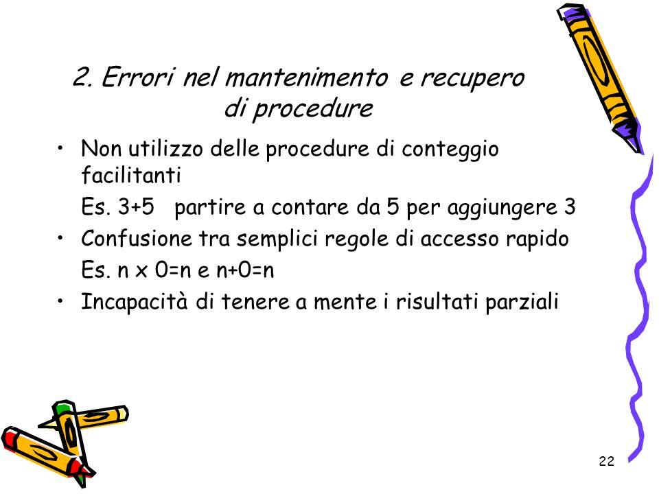 2. Errori nel mantenimento e recupero di procedure Non utilizzo delle procedure di conteggio facilitanti Es. 3+5 partire a contare da 5 per aggiungere