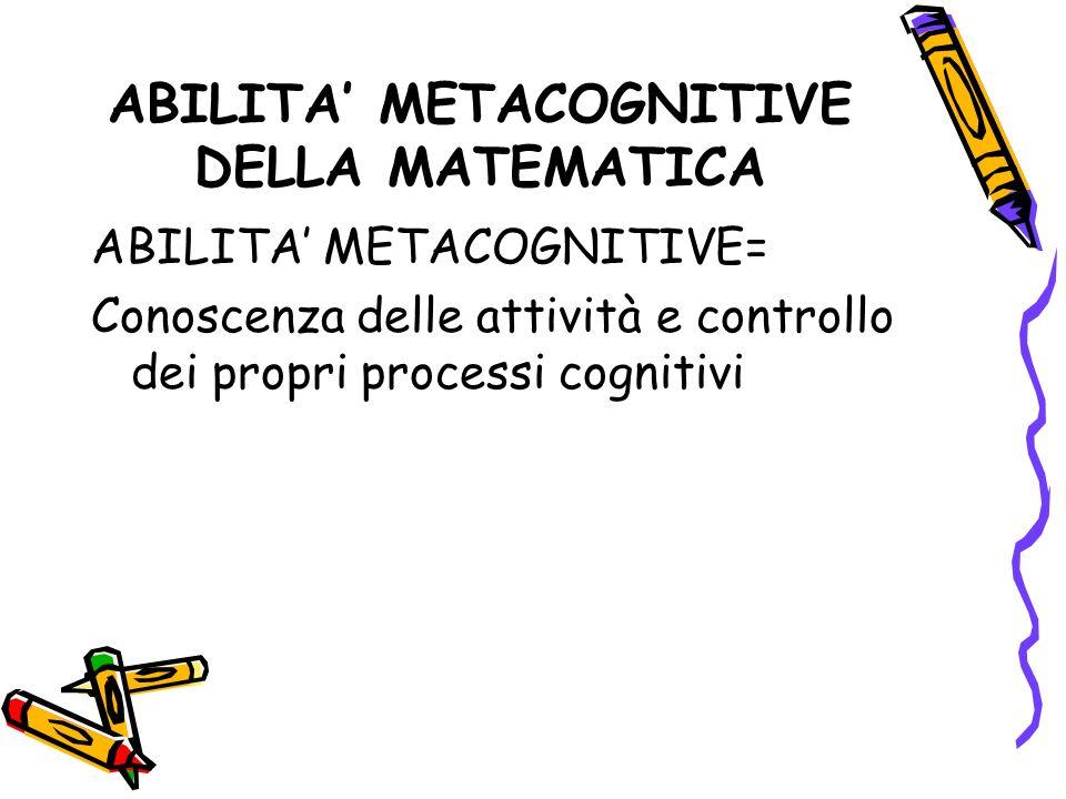ABILITA METACOGNITIVE DELLA MATEMATICA ABILITA METACOGNITIVE= Conoscenza delle attività e controllo dei propri processi cognitivi