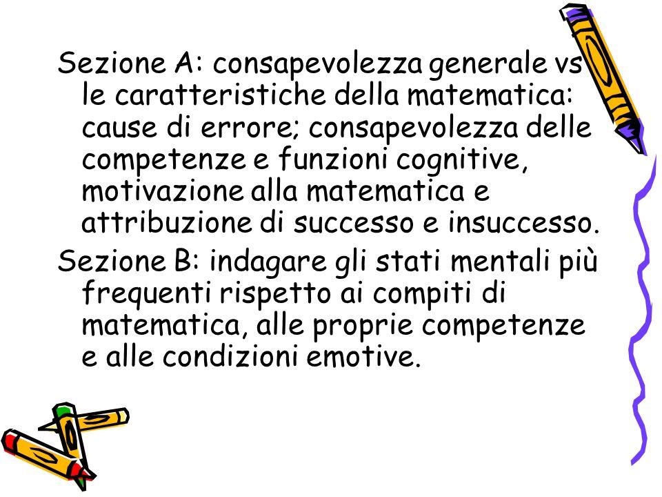 Sezione A: consapevolezza generale vs le caratteristiche della matematica: cause di errore; consapevolezza delle competenze e funzioni cognitive, moti