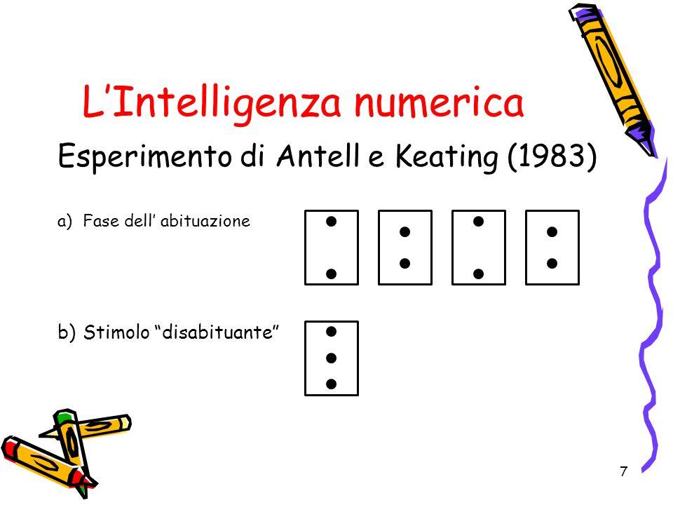 LIntelligenza numerica Esperimento di Antell e Keating (1983) a)Fase dell abituazione b)Stimolo disabituante 7