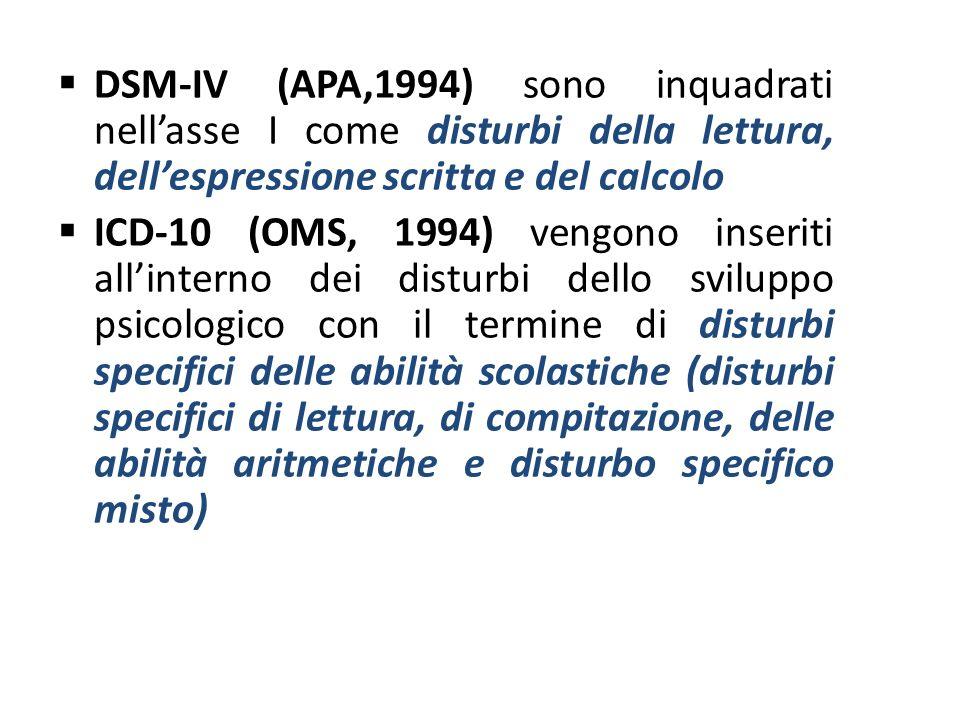 DSM-IV (APA,1994) sono inquadrati nellasse I come disturbi della lettura, dellespressione scritta e del calcolo ICD-10 (OMS, 1994) vengono inseriti al