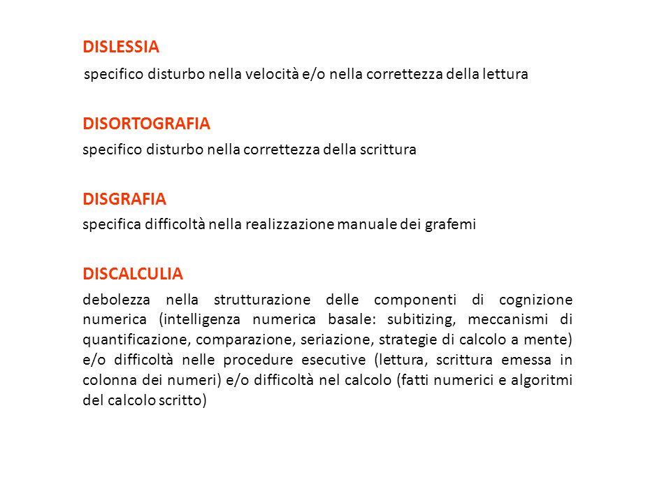 DISLESSIA specifico disturbo nella velocità e/o nella correttezza della lettura DISORTOGRAFIA specifico disturbo nella correttezza della scrittura DIS