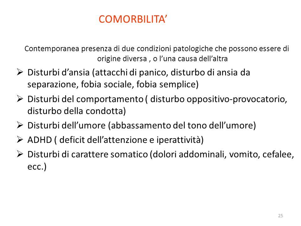 25 COMORBILITA Contemporanea presenza di due condizioni patologiche che possono essere di origine diversa, o luna causa dellaltra Disturbi dansia (att