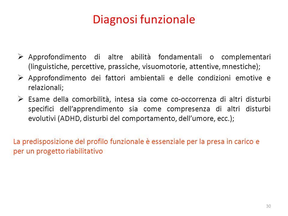 Diagnosi funzionale Approfondimento di altre abilità fondamentali o complementari (linguistiche, percettive, prassiche, visuomotorie, attentive, mnest