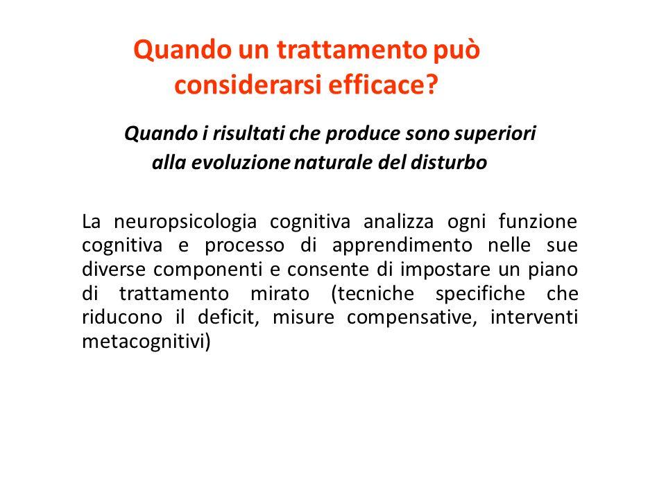 Quando un trattamento può considerarsi efficace? Quando i risultati che produce sono superiori alla evoluzione naturale del disturbo La neuropsicologi