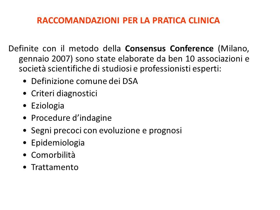 RACCOMANDAZIONI PER LA PRATICA CLINICA Definite con il metodo della Consensus Conference (Milano, gennaio 2007) sono state elaborate da ben 10 associa