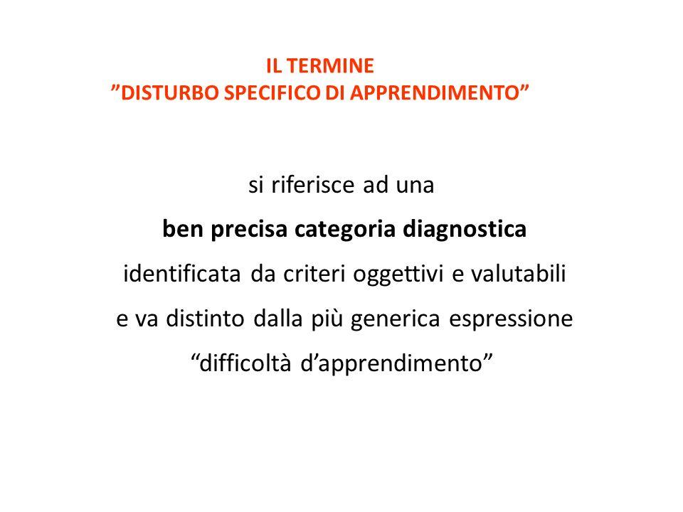 IL TERMINE DISTURBO SPECIFICO DI APPRENDIMENTO si riferisce ad una ben precisa categoria diagnostica identificata da criteri oggettivi e valutabili e
