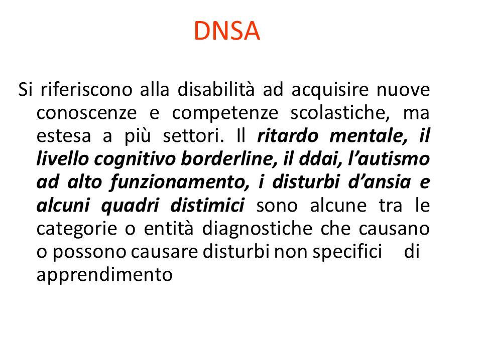 DNSA Si riferiscono alla disabilità ad acquisire nuove conoscenze e competenze scolastiche, ma estesa a più settori. Il ritardo mentale, il livello co