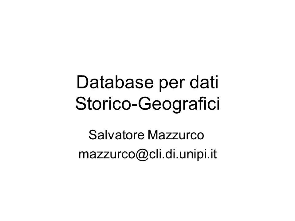 Database per dati Storico-Geografici Salvatore Mazzurco mazzurco@cli.di.unipi.it