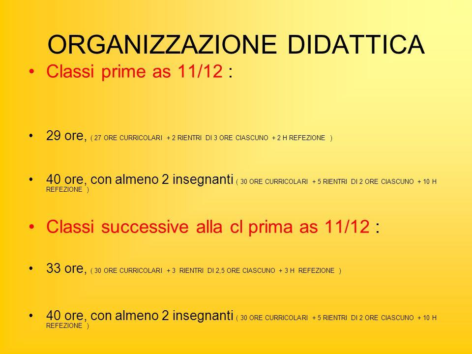 ORGANIZZAZIONE DIDATTICA Classi prime as 11/12 : 29 ore, ( 27 ORE CURRICOLARI + 2 RIENTRI DI 3 ORE CIASCUNO + 2 H REFEZIONE ) 40 ore, con almeno 2 insegnanti ( 30 ORE CURRICOLARI + 5 RIENTRI DI 2 ORE CIASCUNO + 10 H REFEZIONE ) Classi successive alla cl prima as 11/12 : 33 ore, ( 30 ORE CURRICOLARI + 3 RIENTRI DI 2,5 ORE CIASCUNO + 3 H REFEZIONE ) 40 ore, con almeno 2 insegnanti ( 30 ORE CURRICOLARI + 5 RIENTRI DI 2 ORE CIASCUNO + 10 H REFEZIONE )