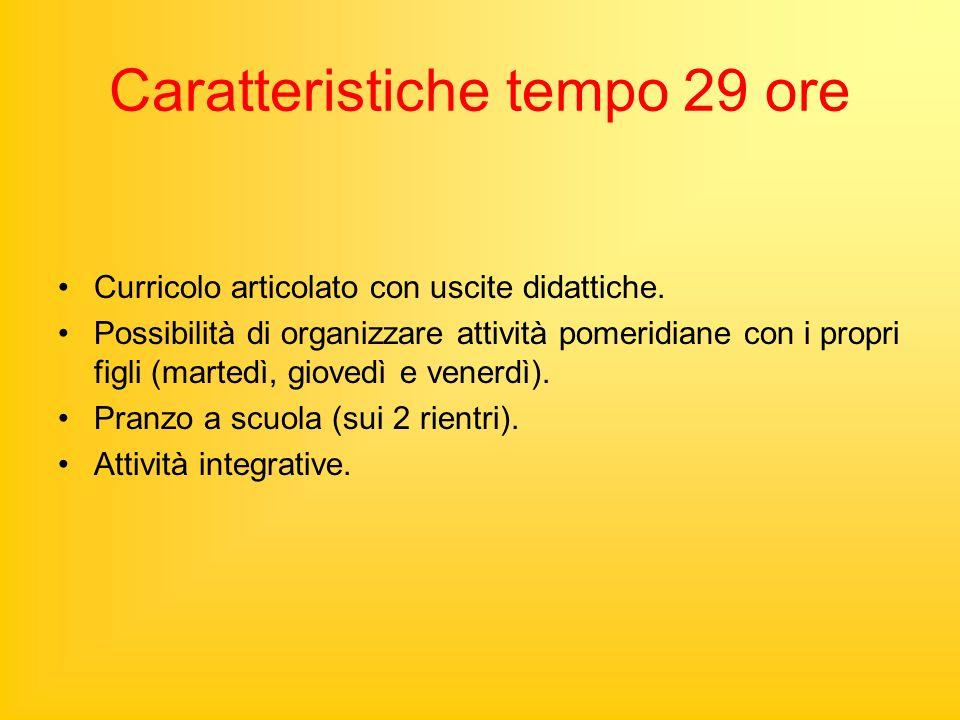 Caratteristiche tempo 29 ore Curricolo articolato con uscite didattiche.