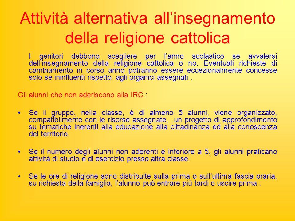 Attività alternativa allinsegnamento della religione cattolica I genitori debbono scegliere per lanno scolastico se avvalersi dellinsegnamento della religione cattolica o no.