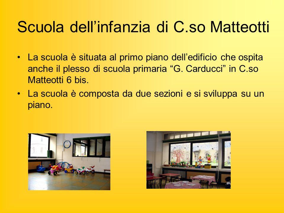 Scuola dellinfanzia di C.so Matteotti La scuola è situata al primo piano delledificio che ospita anche il plesso di scuola primaria G.