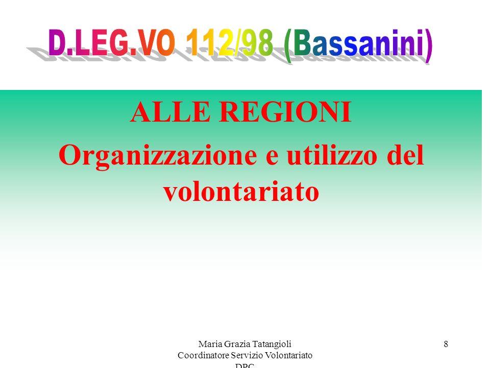 Maria Grazia Tatangioli Coordinatore Servizio Volontariato DPC 8 ALLE REGIONI Organizzazione e utilizzo del volontariato